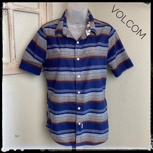 Volcom Blue Stripped Slim-fit  Cotton Shirt